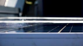 Washing solar panels close up stock video