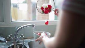 Washing some Strawberries