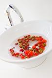 Washing Strawberries Stock Photos