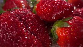 Washing strawberries fruits slow motion stock video footage