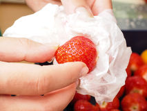 Washing strawberry Stock Image