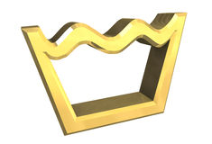 Washing symbol in gold isolated - 3D Royalty Free Stock Photos