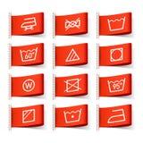 Washing symbols. On clothing labels Royalty Free Stock Photos