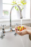 Washing tomatoes in kitchen sink. Hands washing fresh cherry tomatoes in running water of kitchen sink with curved faucet stock photo