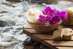 Washing up with beauty accessories Stock Photography
