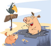 Washing up Pig with Crow and Cat. Cheerful friends a pig, a cat and a raven stock illustration