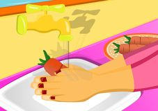 Washing vegetable. Illustration image for woman washing carrot  before cooking Royalty Free Stock Photo