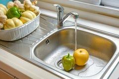 Washing vegetable and fruit Stock Photo
