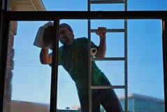 Washing windows Royalty Free Stock Photo