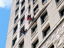 Washing windows Flatiron building Royalty Free Stock Photography