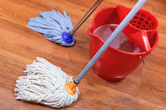 Washing of wood floors Stock Photos