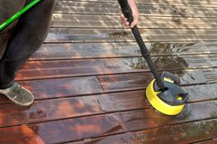 Washing wooden terrace Stock Photo