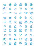 Washing and wringing, drying and ironing vector symbols for clothes labels. Garment care line icons Royalty Free Stock Images