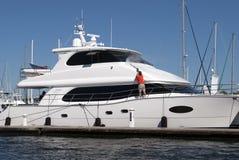 Washing yacht Stock Images