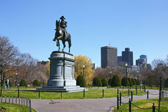 Washington. The famous statue of President General George Washington at the entrance to the public gardens in boston massachusetts on an early spring day Stock Photos