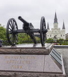 Washington Artillery Park in New Orleans - NEW ORLEANS, LOUISIANA - APRIL 18, 2016 Royalty Free Stock Images