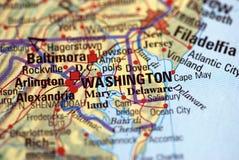 Washington auf der Karte Lizenzfreie Stockfotografie