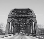 Washington Avenue Bridge in Waco Texas. A black and white photo of the Washington Avenue Bridge in Waco Texas stock photo