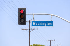 Washington avenue street sign and traffic lights. Stock Photos