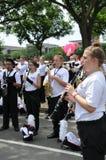 Washington, C C - 4 DE JULHO DE 2017: músico-participantes 2017 nacional Dia da Independência parada do 4 de julho de 2017 em Was Fotografia de Stock