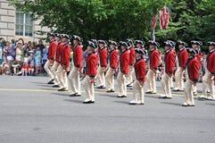 Washington, C C - 4 DE JULHO DE 2017: Os Corpo-participantes do pífano e do cilindro nacional Dia da Independência parada do 4 de Fotografia de Stock Royalty Free