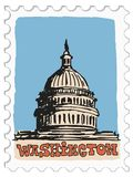 Washington, capital of USA. Stamp with doodle view of Washington Stock Photos