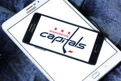 Washington Capitals ice hockey team logo. Logo of Washington Capitals ice hockey team on samsung mobile. The Washington Capitals are a professional ice hockey Royalty Free Stock Photos