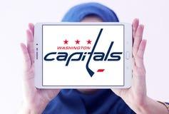 Washington Capitals ice hockey team logo. Logo of Washington Capitals ice hockey team on samsung tablet holded by arab muslim woman. The Washington Capitals are Stock Photo