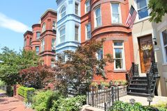 Washington Capitol Hill. Capitol Hill in Washington DC, capital city of the United States. Colorful townhouses royalty free stock image