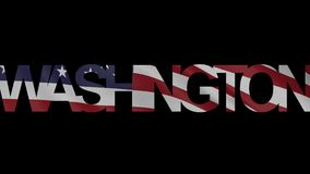 Washington caption and waving American flag 4K intro animation. Washington inscription and flapping flag of the USA 4K intro clip stock video footage