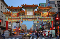 Washington Chinatown la nuit, C.C, Etats-Unis Photo libre de droits