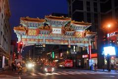 Washington Chinatown na noite, C.C., EUA foto de stock