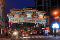Washington Chinatown at night, DC, USA Stock Photo