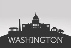 Washington City with White House. Vector for your ideas Stock Images