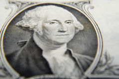Washington close-up. Very tight close-up on George Washington as printed on the one dollar bill, focus on the eyes Royalty Free Stock Photos