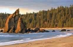 Washington Coastal Scenery. Spires of rock jut out of the beach along the Olympic Coast in Washington Stock Photos
