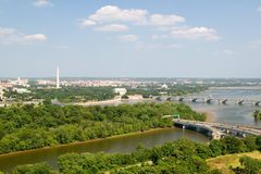 Washington D.C. aerial view with US Capitol, Washington Monument, Lincoln Memorial and Jefferson Monument and Potomac River Stock Images