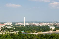 Washington D.C. aerial view with US Capitol, Washington Monument, Lincoln Memorial and Potomac River Royalty Free Stock Photography
