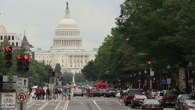 Washington D.C. Capitol Building 2. Looking down Pennsylvania Avenue towards the Capitol building in Washington D.C. on an overcast day stock footage