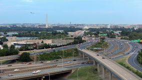 Washington D.C. cityscape at dusk with traffic on I-395 highway stock video