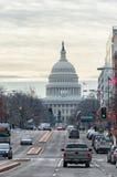 Washington, D C - 10 JANUARI, 2014: Washington Cityscape en Capitool op Achtergrond Royalty-vrije Stock Afbeelding