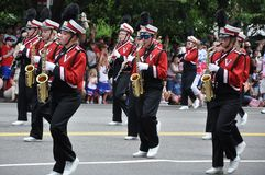 WASHINGTON, D.C. - JULY 4, 2017: pupils of Walders Hich School-participants of the 2017 National Independence Day Parade July 4, 2 Royalty Free Stock Photos