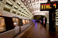 Washington D.C. Metro. Train approaching metro station in D.C Royalty Free Stock Photos