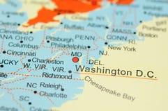 Washington D.C. op kaart Stock Afbeeldingen