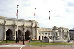 Historic Union Station facade and grounds stock photography