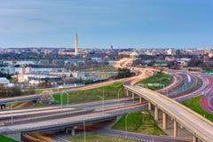 Washington, D.C. skyline with highways. And monuments at twilight stock photo
