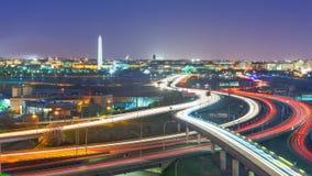 Washington, D.C. skyline with highways. And monuments stock image