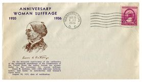 Washington D.C., The USA  - 26 August 1936: US historical envelope: cover with cachet Anniversary woman suffrage Susan B. Anthony, royalty free stock image