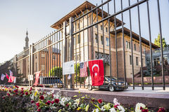 Washington D.C., USA - June 29, 2016: Flowers, posters at Turkish Embassy to honor victims in Istanbul bombings of June 28, 2016 Stock Photography