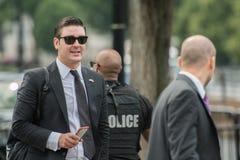 WASHINGTON D.C., USA - JUNE, 21 2016 - Secret service agent at White House building Royalty Free Stock Image